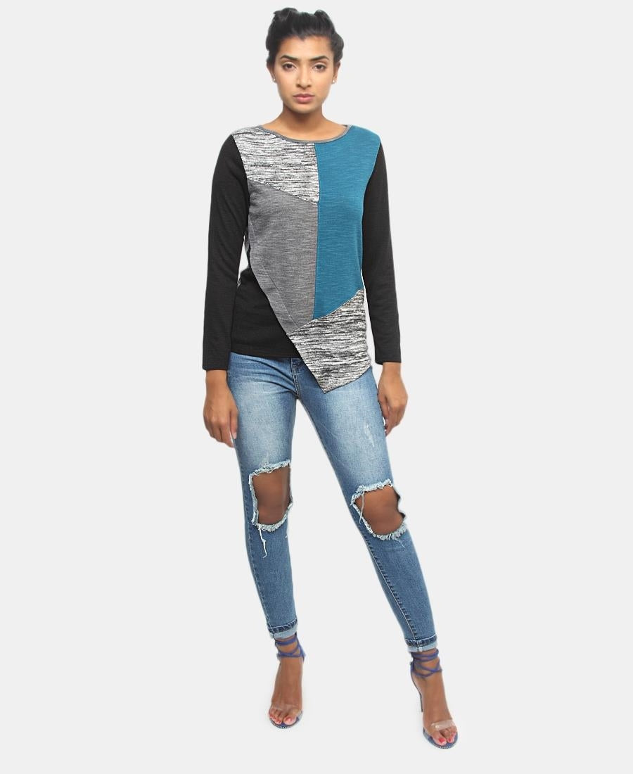 Patched Long Sleeve Top - Blue