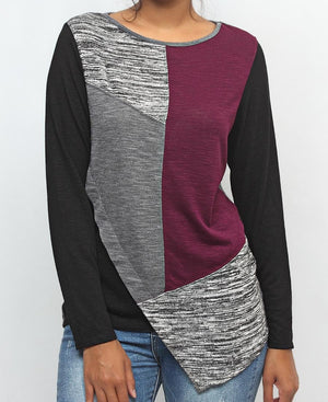 Patched Long Sleeve Top - Burgundy