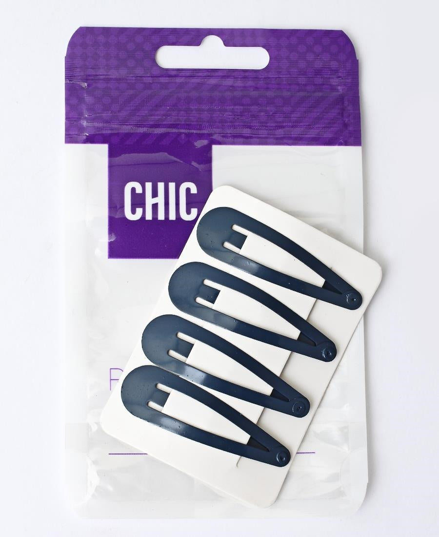 4 Pack Hair Clips - Navy