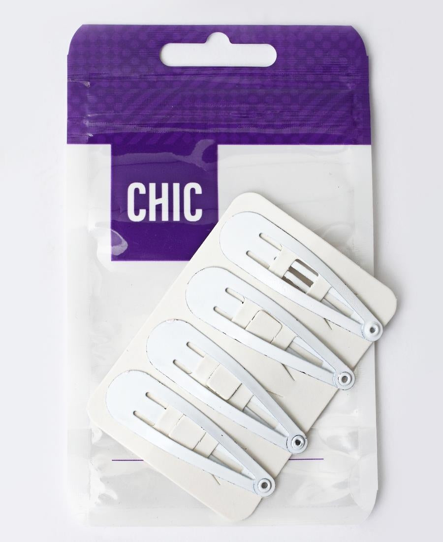 4 Pack Hair Clips - White