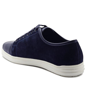 Genuine Leather Sneakers - Navy
