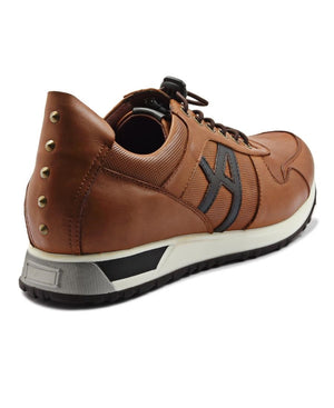 Genuine Leather Sneakers - Brown