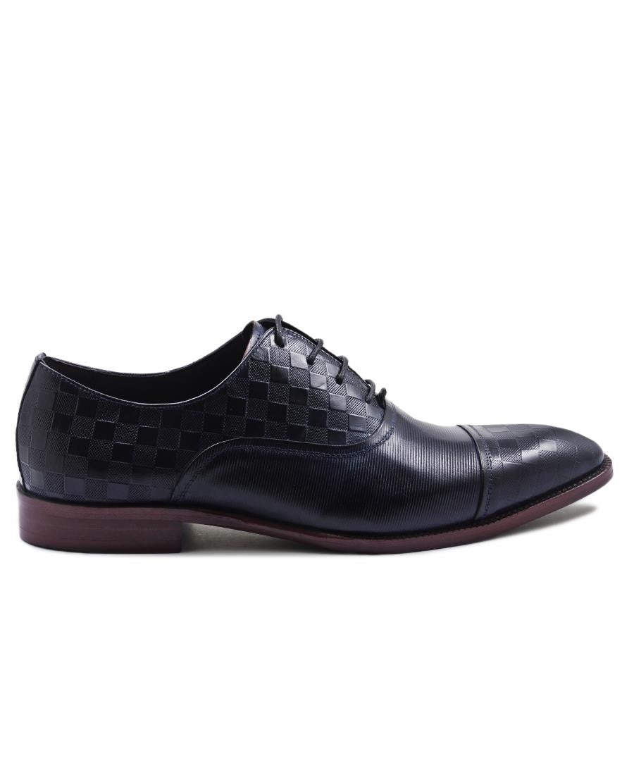 Genuine Leather Lace Up  - Navy