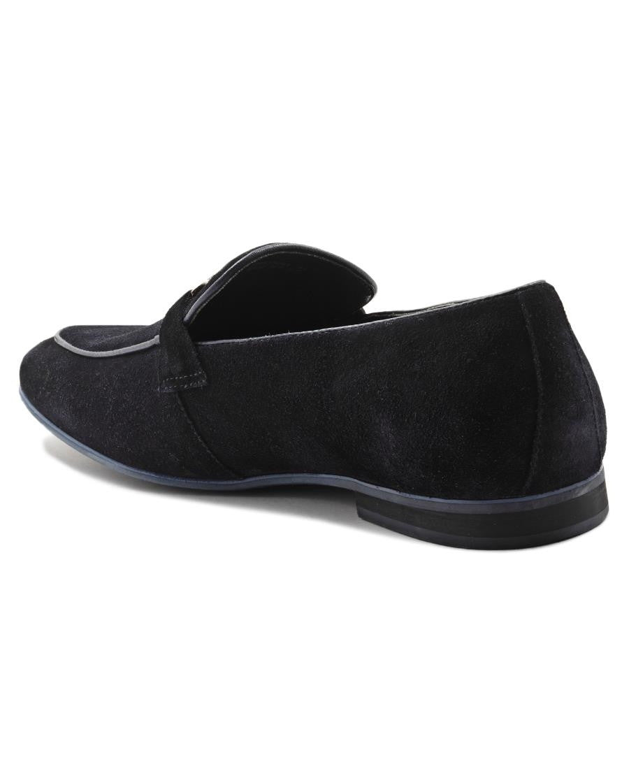Genuine Leather Slip On - Navy