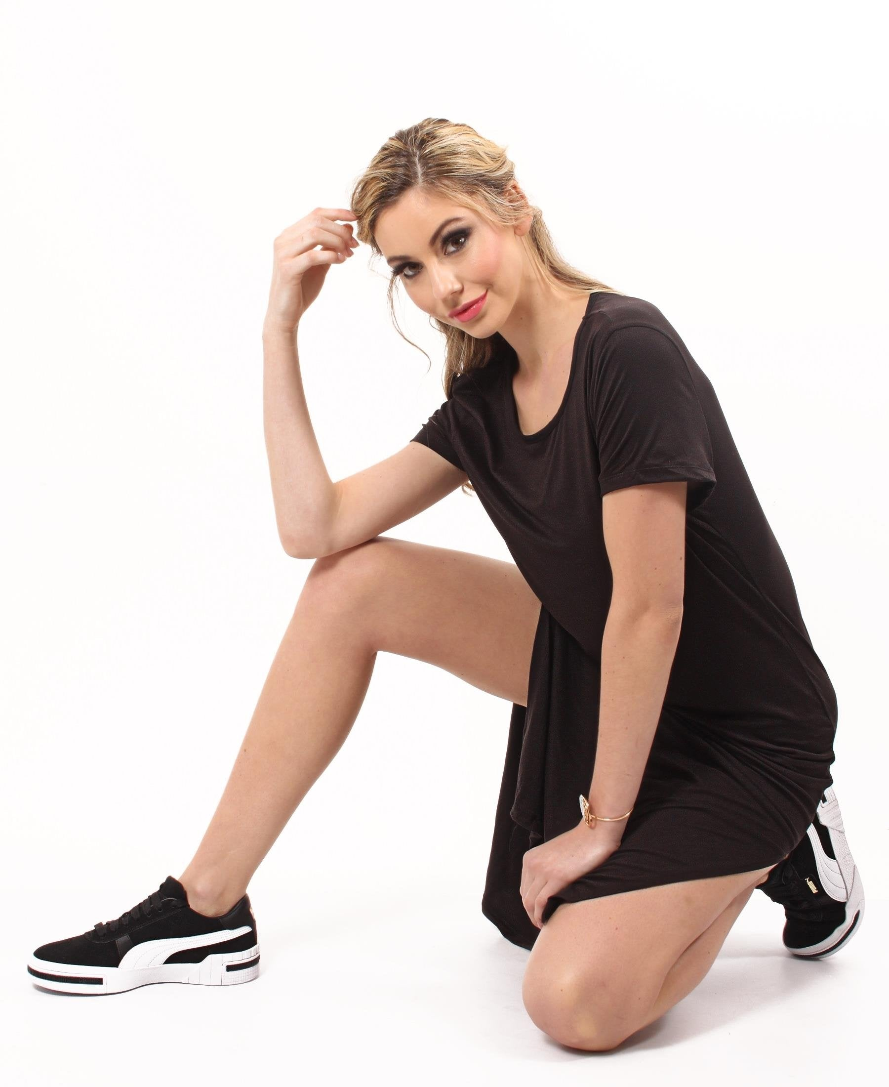 Crew Neck T-Shirt Dress  - Black