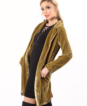 Velour Front Pocket Coat - Green