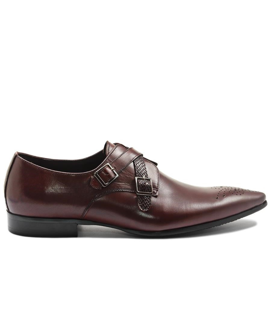 Genuine Leather Double Monk Strap - Brown