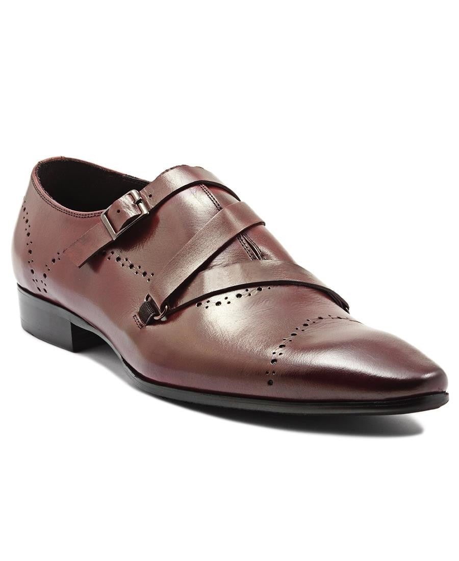 Genuine Leather Double Monk Strap - Wine