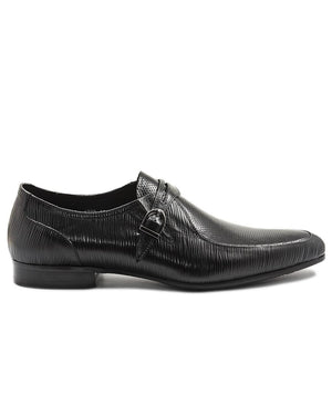 Genuine Leather Single Monk Strap - Black