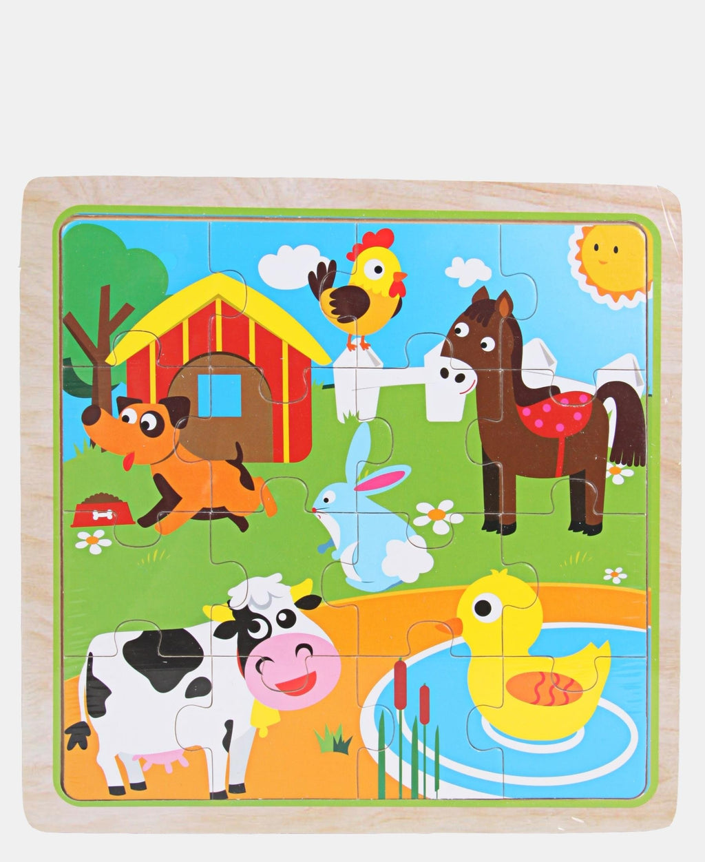 16 Piece Wooden Farm Animals Puzzle - Multi