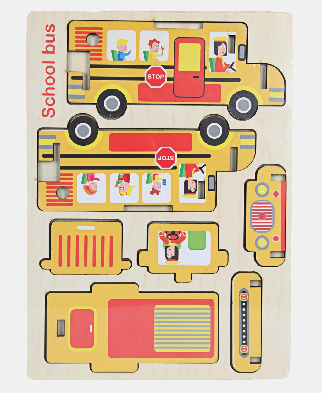 7 Piece Wooden School Bus Puzzle - Cream