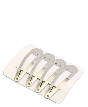 4 Pack Hair Clips - Silver
