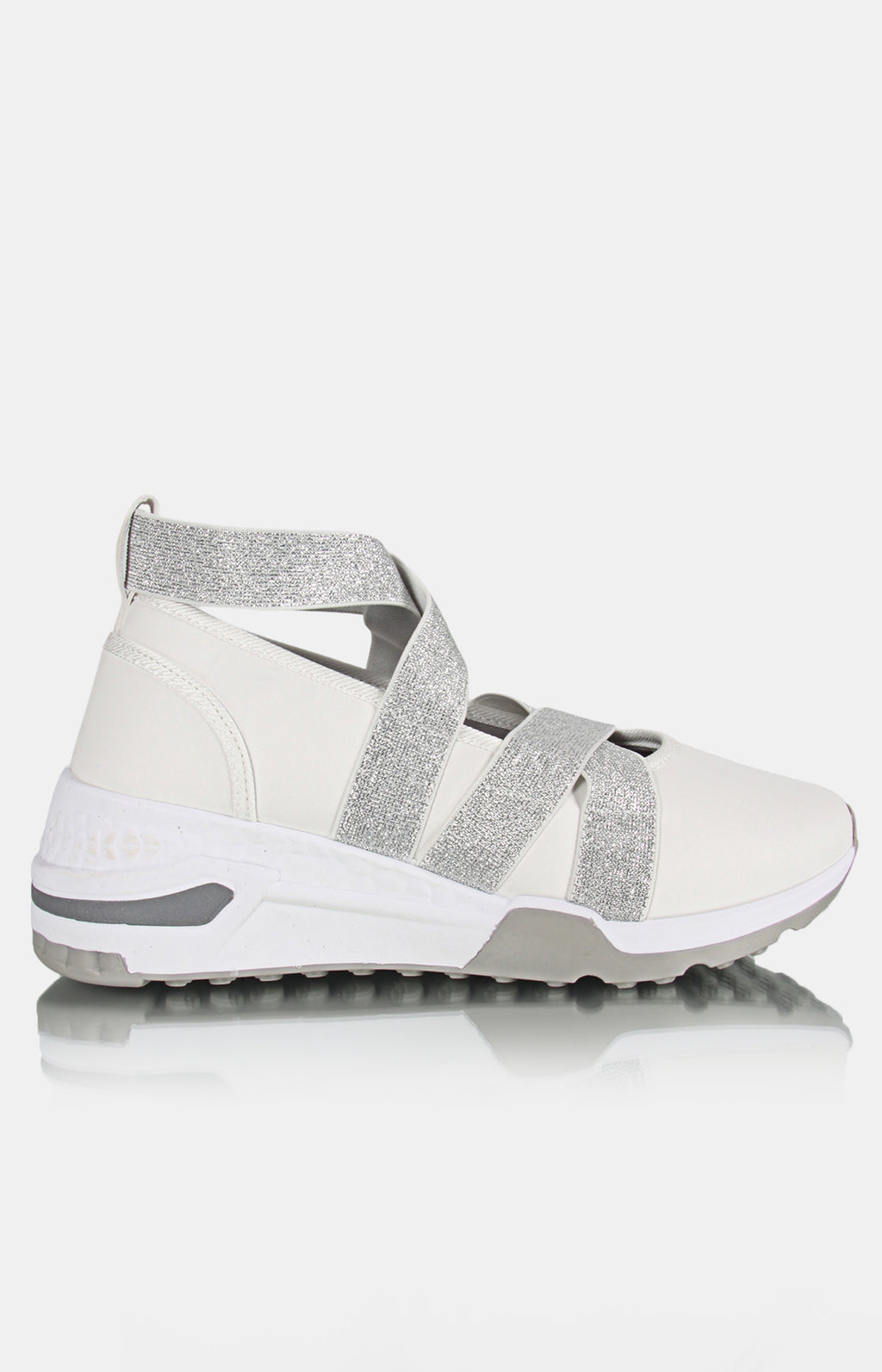 Ladies' Casual Sneakers - White-Grey