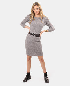 3/4 Sleeve Bodycon Dress - Grey