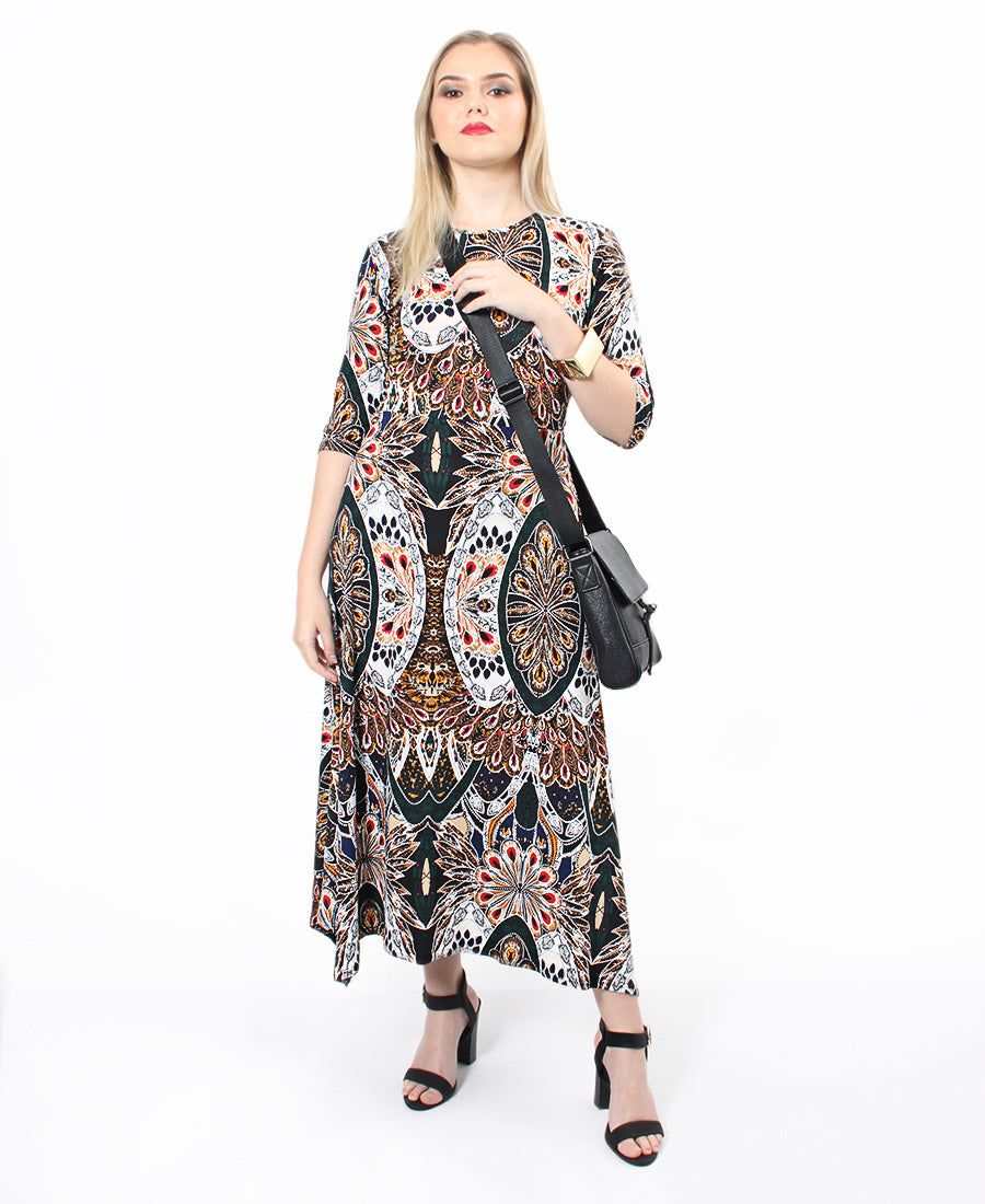 3/4 Sleeve Dress - Multi