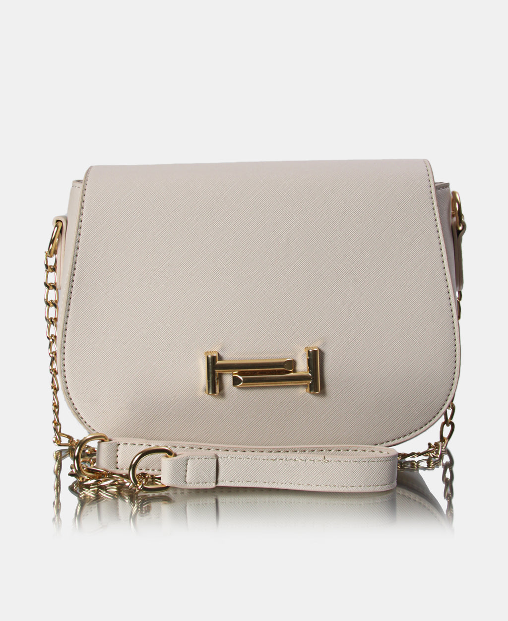Small Structured Crossbody Bag - Beige