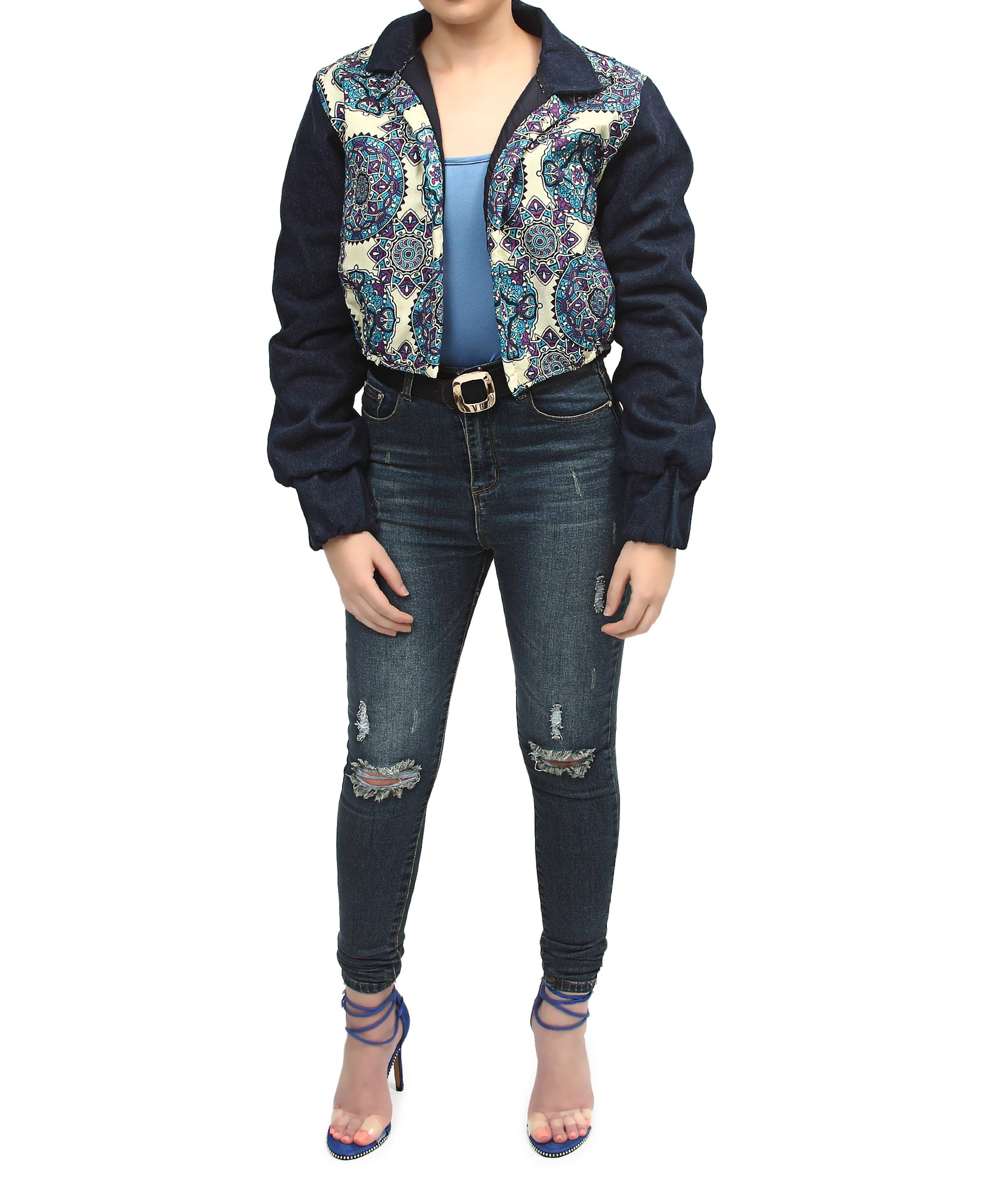Ethnic And Denim Cropped Bomber Jacket - Blue