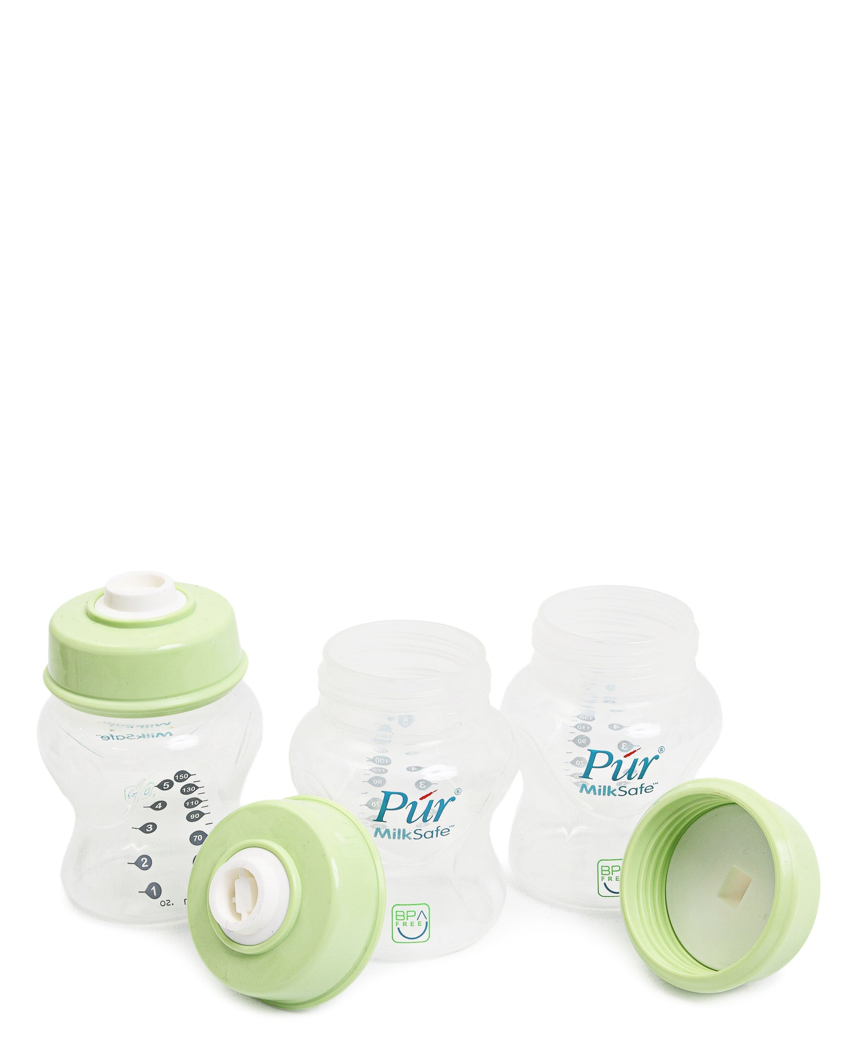 Breast Milk Vacuum Storage Bottles & Caps - Green