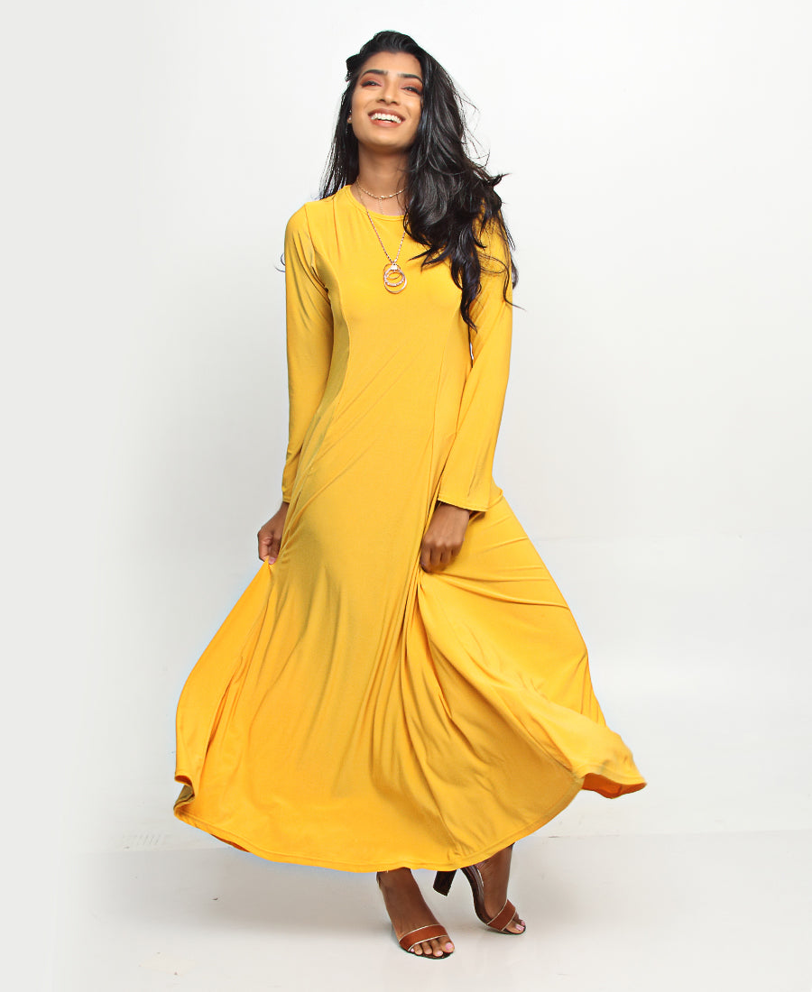 Long Sleeve Maxi Dress - Yellow