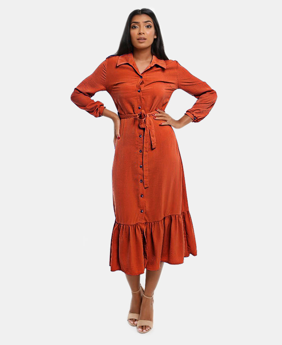 Frill Button Dress - Rust