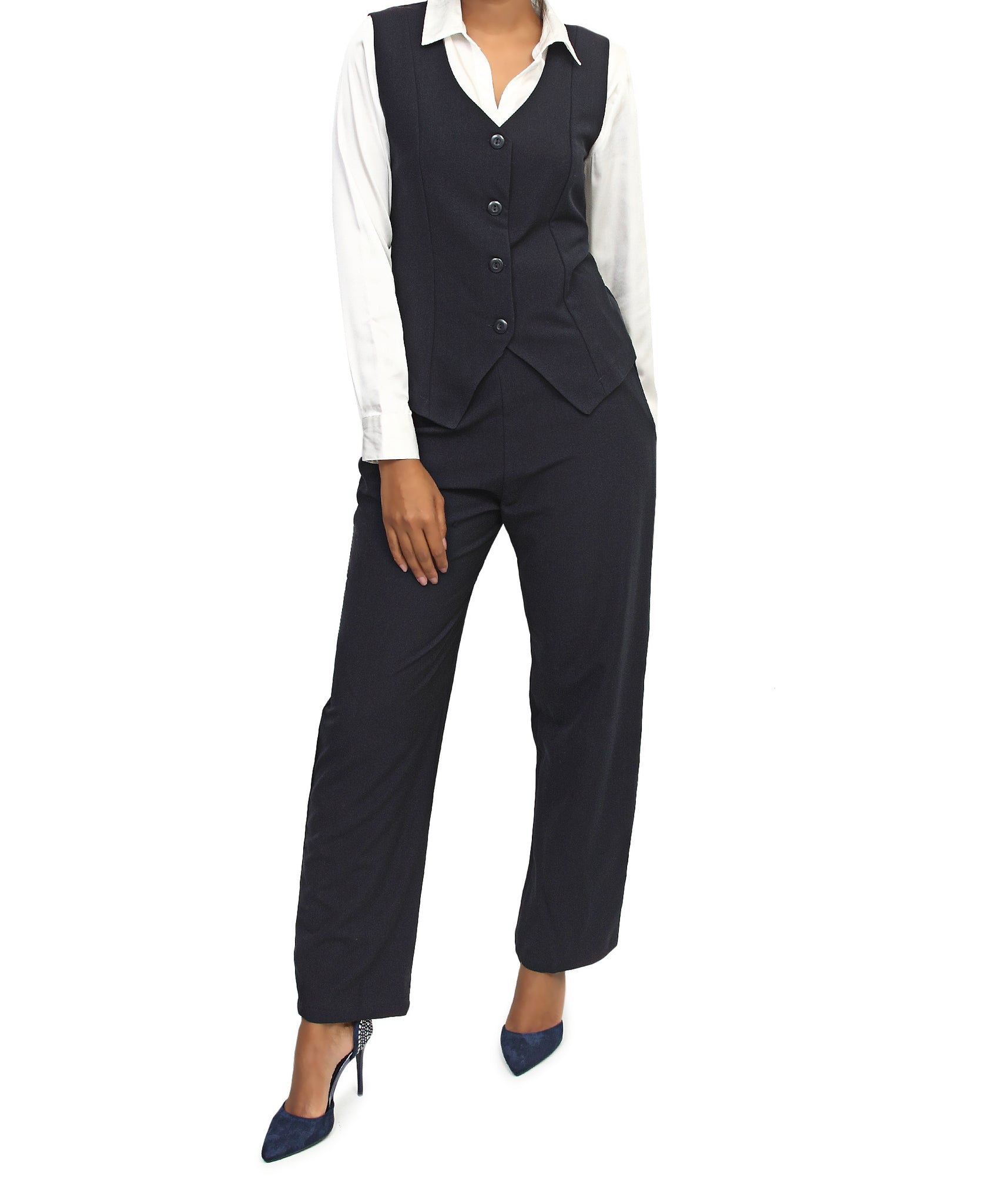 Sleeveless Blazer - Navy