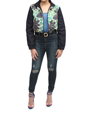 Ethnic And Denim Cropped Bomber Jacket - Cream