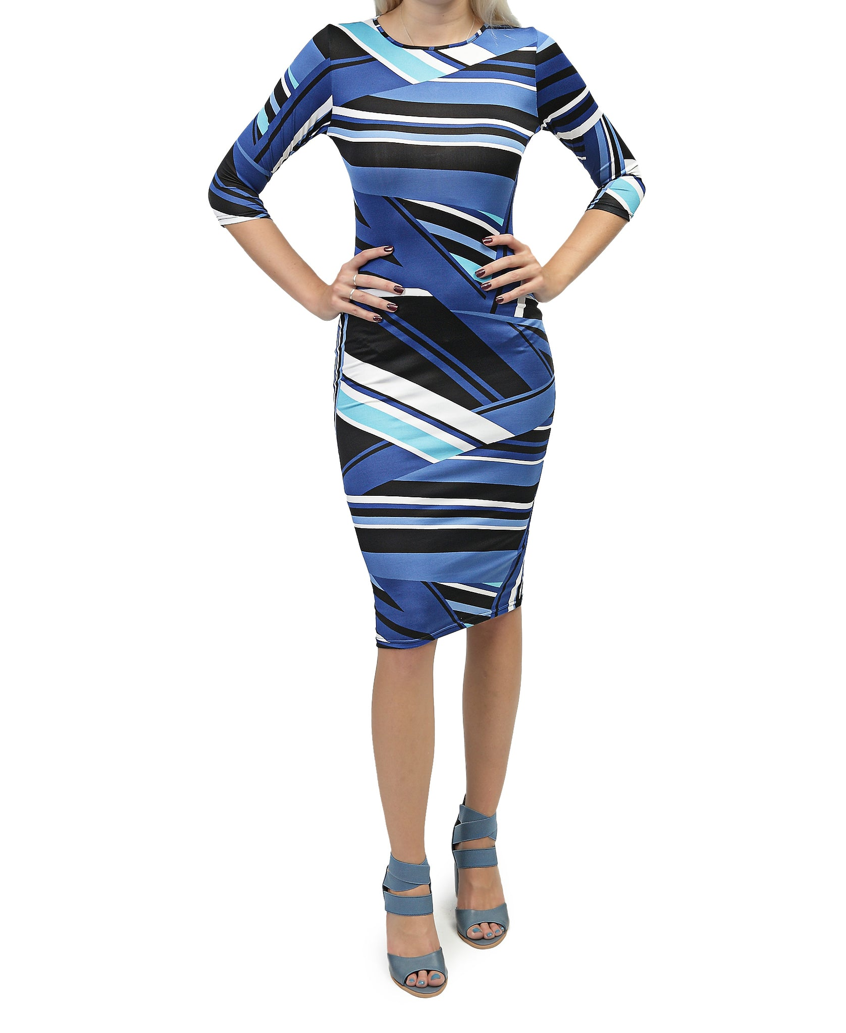 Printed Bodycon Dress - Blue