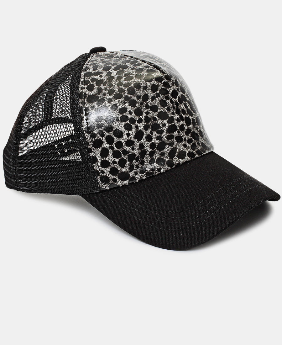 Animal Print Cap - Black