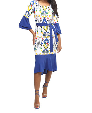 Bell Sleeve Dress - Blue