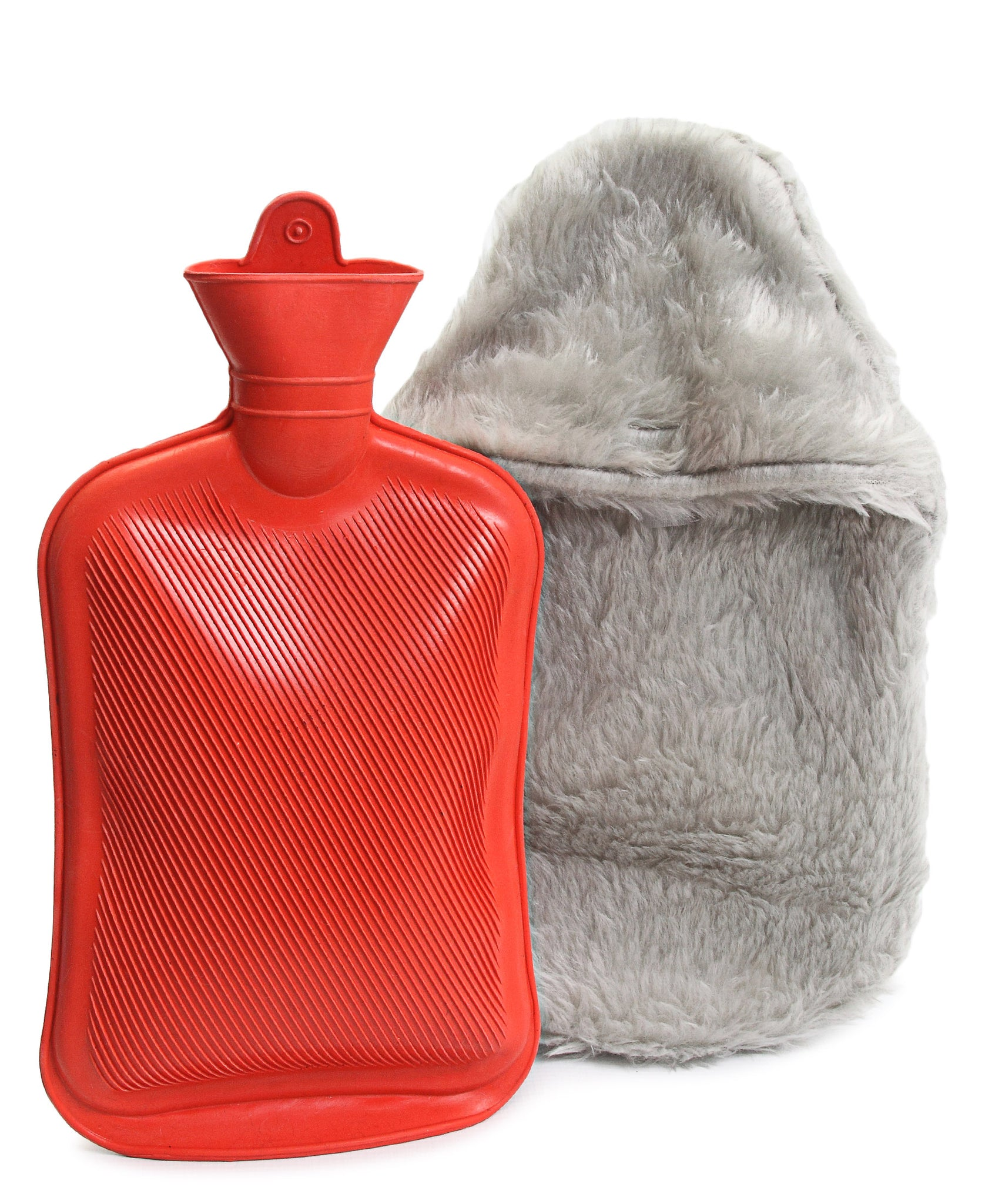Hot Water Bottle With Cover - Light Grey