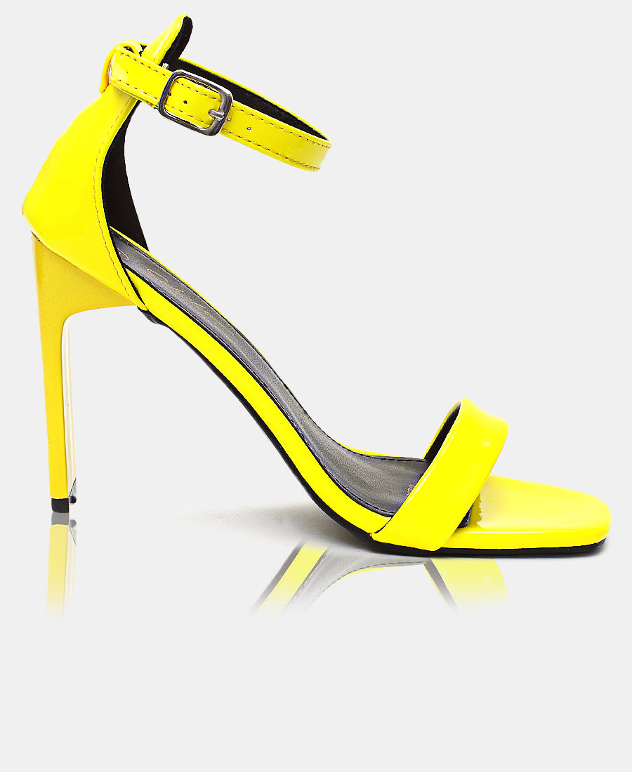 Ankle Strap Heels - Yellow