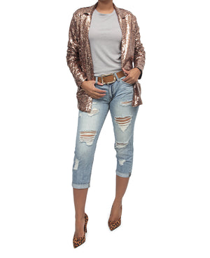 Sequins Blazer - Rose Gold