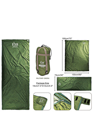 Nylon Compactable Sleeping Bag - Green