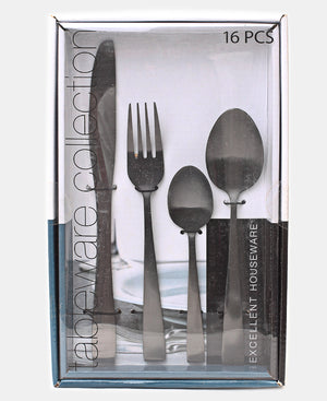 Excellent Houseware 16 Piece Cutlery Set - Black