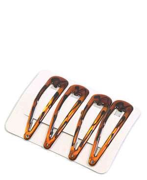 4 Pack Hair Clips - Brown