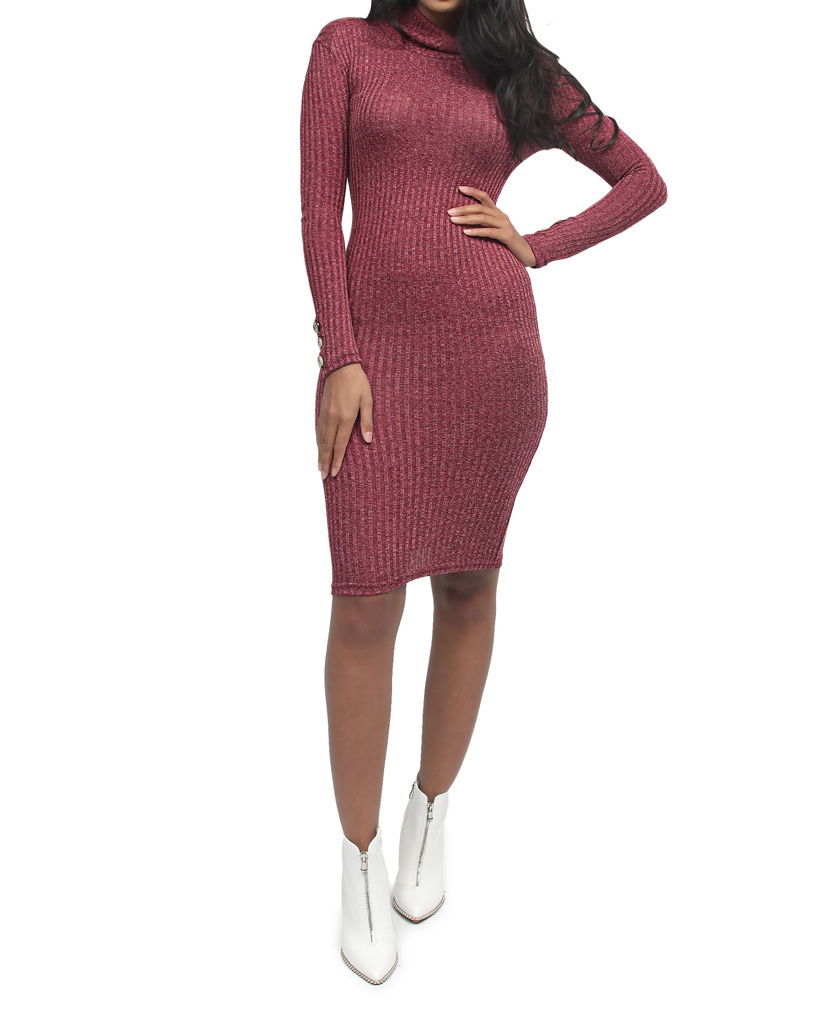 Rib Bodycon Dress - Burgundy