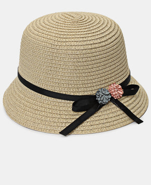 Girls Bucket Straw Hat - Beige