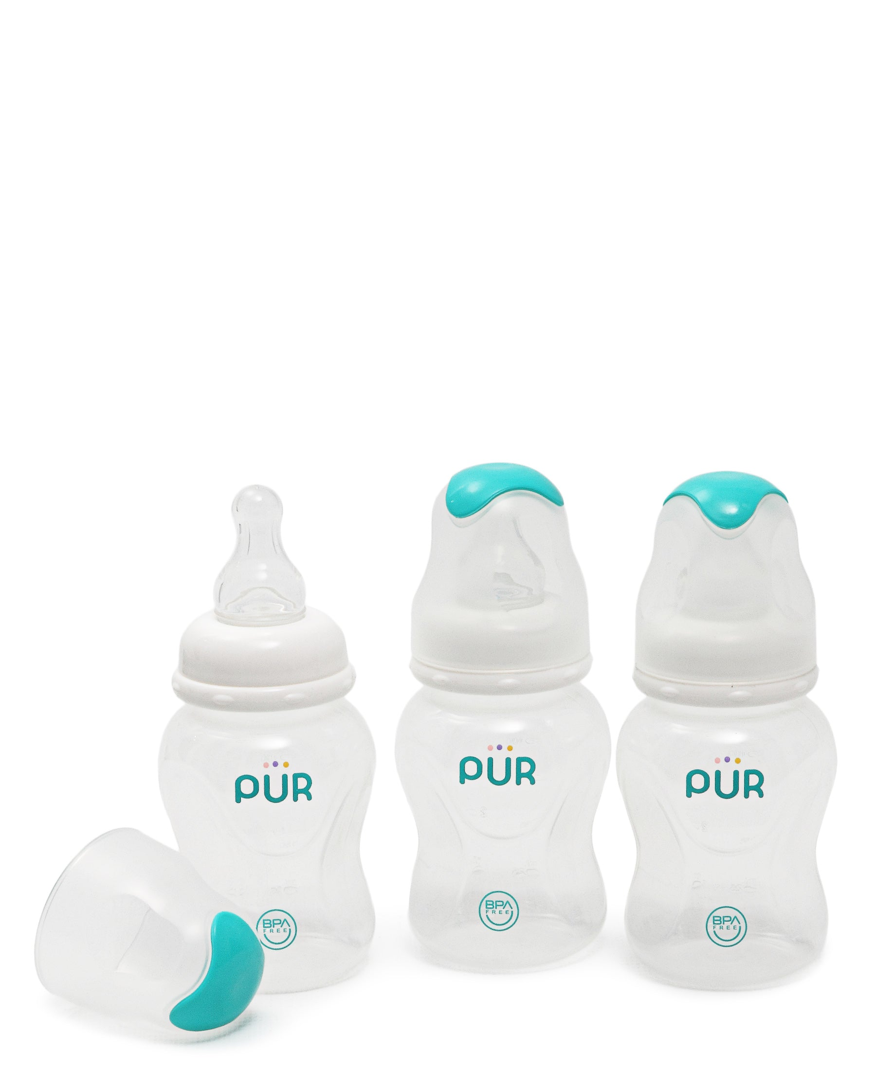 3 Pack 125ml Slow Flow Feeding Bottles - White