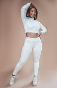 Ladies' Cropped High Neckline & Joggers Set - Cream