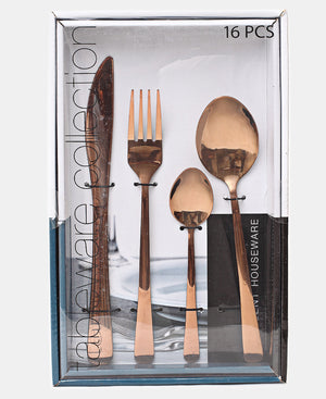 Excellent Houseware 16 Piece Cutlery Set - Rose Gold