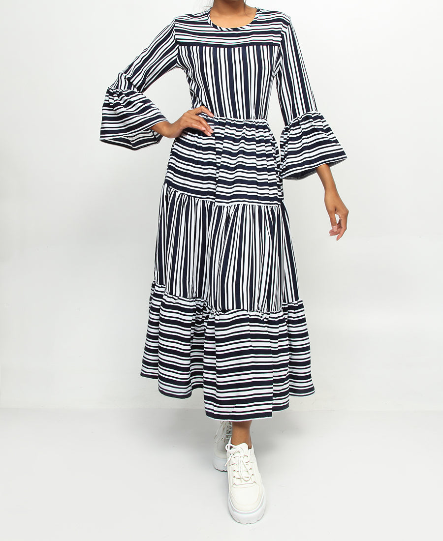 Bell Sleeve Maxi Dress - Navy-White
