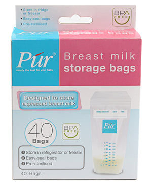 40 Pack Breast Milk Storage Bags - White