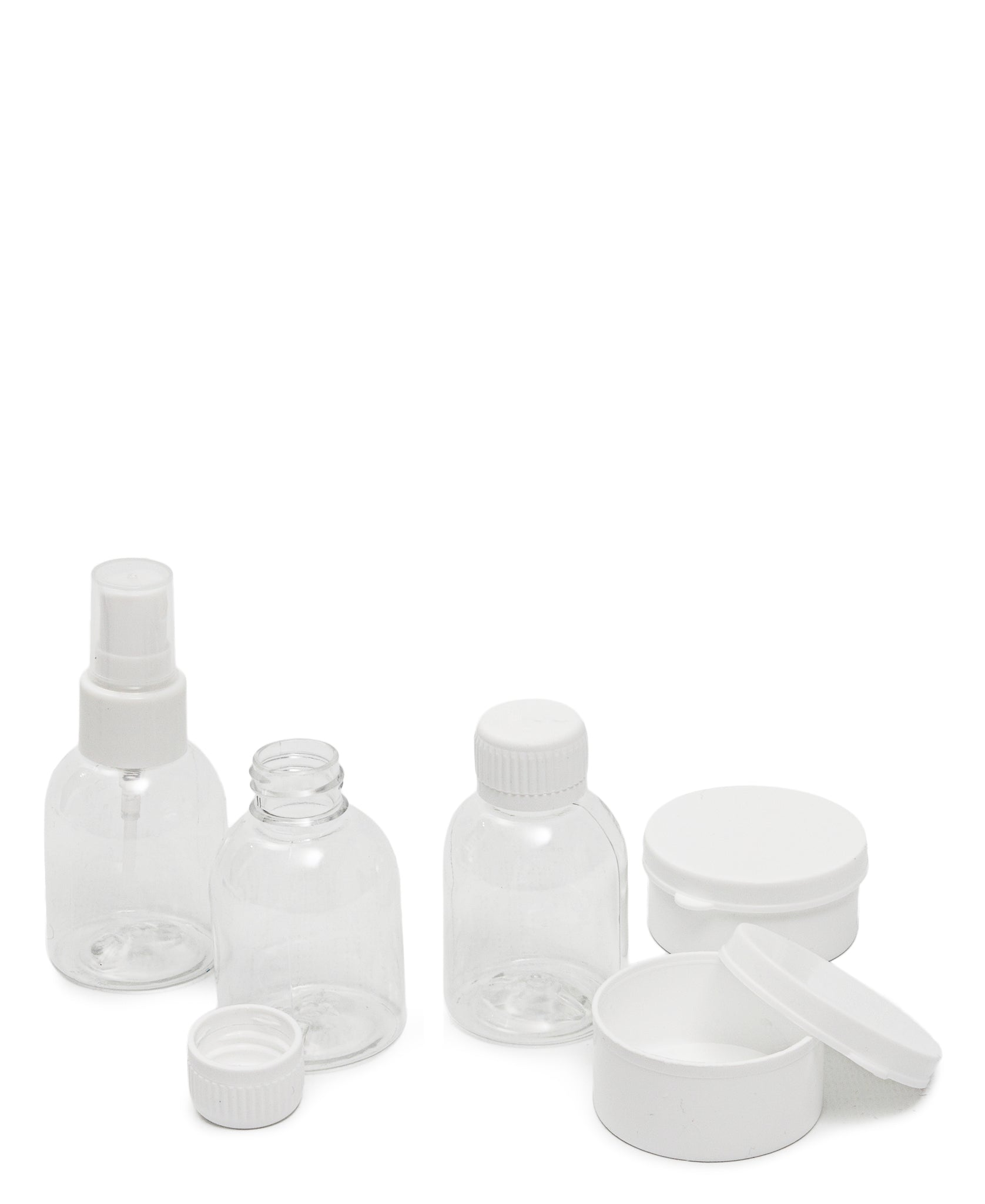 Set Of 5 Travel Bottles - White