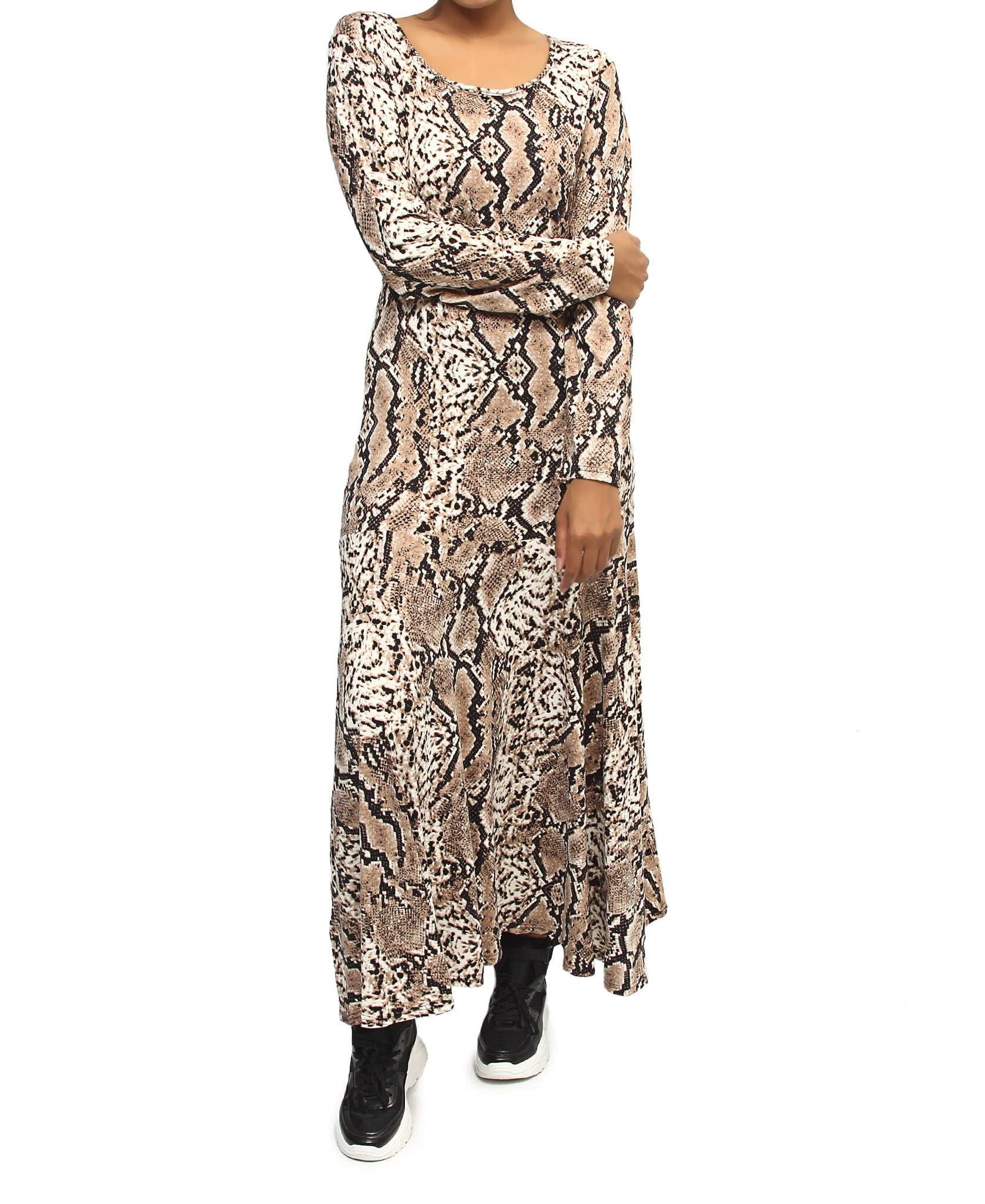 Long Sleeve Maxi Dress - Brown