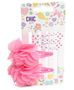 4 Pack Girls Hair Clips - Pink