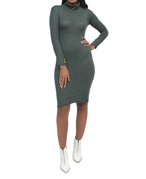 Rib Bodycon Dress - Green