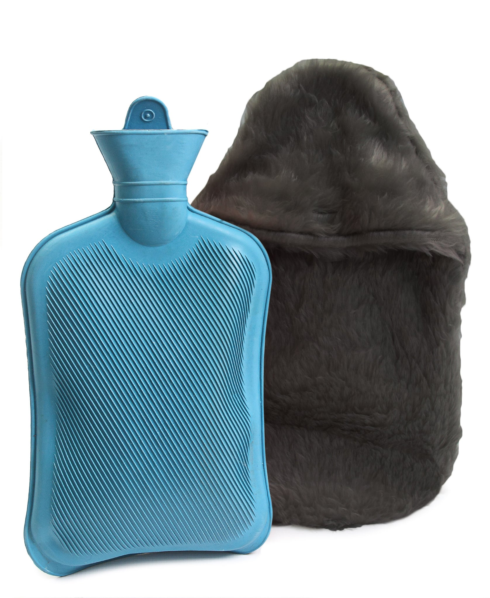 Hot Water Bottle With Cover - Grey