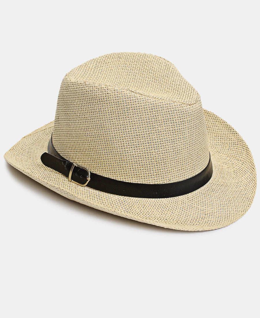 Belt Buckle Fedora Hat - Beige