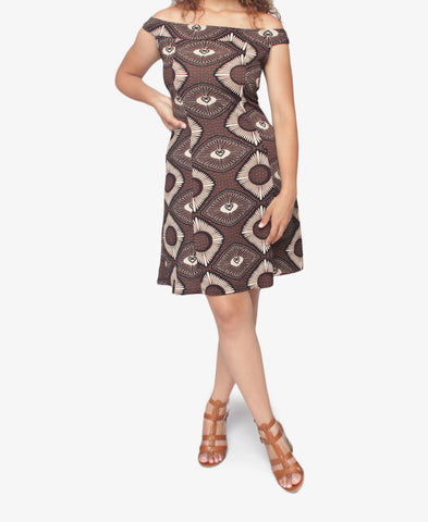 Off Shoulder Dress - Choc
