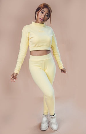 Ladies' Cropped High Neckline & Joggers Set - Yellow - planet54.com